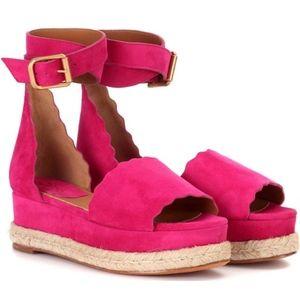 New Chloe Lauren Platform Espadrilles Pink SZ 39